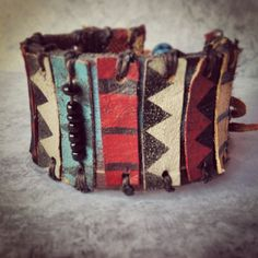Tribal Leather Bracelet - Ethnic Leather Cuff - Chevron Jewelry - Boho Indie Style - made to order. $52.00, via Etsy.