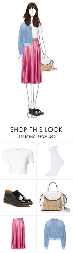 """""""Lily OOTD - white tee&pink pleated skirt"""" by nadiazaful ❤ liked on Polyvore featuring Rosetta Getty, Dr. Martens, Kate Spade, Gucci, Balmain and vintage"""