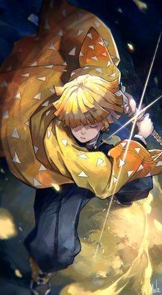 Zenitsu Agatsuma/Demon Slayer: Kimetsu no Yaiba Anime Love, Anime Manga One Piece, Awesome Anime, Manga Art, Anime Art, Otaku Anime, Demon Slayer, Slayer Anime, Zenitsu Kimetsu No Yaiba