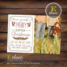 Printable Photo Christmas Card  Vintage by EThreeDesignStudio, $15.00