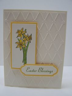 Stampin Up Handmade Greeting Card: Happy Easter Card, Spring Card, Floral Card, Easter Blessings, Daffodils, Easter Flowers