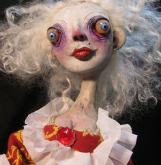 the Queen lowbrow figure art doll polymer clay ooak sculpture one of a kind by mealy monster land by mealymonster on Etsy