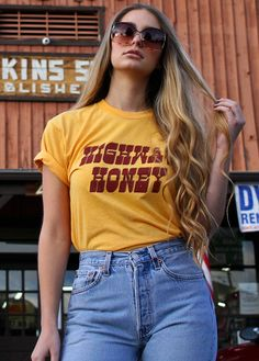 Highway Honey 70s inspired vintage t-shirt, graphic tee  Our Highway Honey tee is made with 70s inspired, marigold yellow tee, with burgundy and brown print. Sizing is unisex, meaner a looser womens fit. We suggest ordering one size down from your normal size  50% cotton 50% polyester  Designed, manufactured, and printed in California  Please read our shop policies before purchase, thank you! Any questions? Were here to help, send us a message.   Shop our entire collection at…