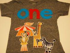 Birthday shirt Circus theme Shirt Animals Organic blend birthday tee for boys girls Carnival elephant zebra on Etsy, $41.00