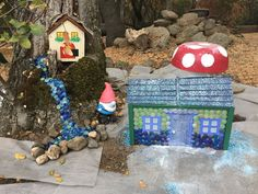 A great tutorial showing how to create a fairy house from a concrete block. An easy and inexpensive craft project that is fun for adults and kids! Fairy Garden Houses, Fairy Gardens, Miniature Gardens, Garden Art, Garden Ideas, Craft Projects, Projects To Try, Create A Fairy, Crafts For Kids
