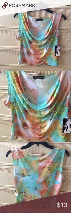 Brittany Black , PL Sleeveless Blouse Soft Draped Neckline, Summer Pastel Print with delicate sequin sparkles. 92%Polyester,8%Spandex.  Comfort and Style. Brittany Black Petite Tops Blouses