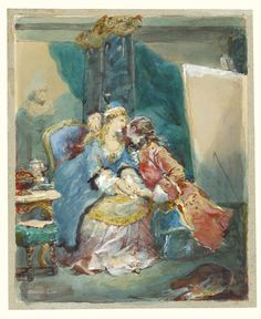 """""""A Couple Embracing in an Artist's Studio,"""" Eugène Louis Lami, 1881. Watercolor over traces of black chalk, with touches of white gouache. Watercolor Art Diy, Watercolor Art Lessons, White Gouache, Classic Artwork, Getty Museum, People Illustration, Couple Art, Drawing People, Art Drawings"""