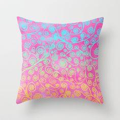 GET LUCKY Throw Pillow #pink #mint #orange #pillow #girlsroom #girl #bedding