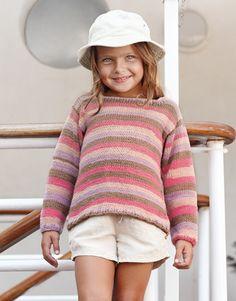 Tijdschrift Kinderen 73 Lente / Zomer | 19: Kinderen Trui | Bleekrood-Lila-Bruin