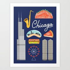 Adorn your walls with icons of the Windy City including Willis Tower (formerly Sears Tower), Marina City, the Wrigley Field Sign, the Bean, and, of course, the delectable Chicago-style hot dog.