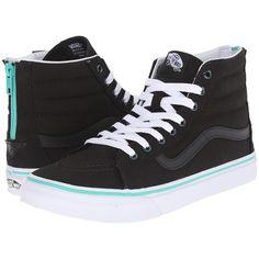 a6f71f2b44 Vans SK8-Hi Slim Zip ((Iridescent Eyelets) Black) Skate Shoes (. Black High  Top ...