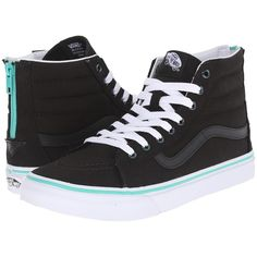 Vans SK8-Hi Slim Zip ((Iridescent Eyelets) Black) Skate Shoes ($56) ❤ liked on Polyvore featuring shoes, sneakers, black, vans shoes, vans high tops, high top zipper sneakers, black high top sneakers and leather high tops