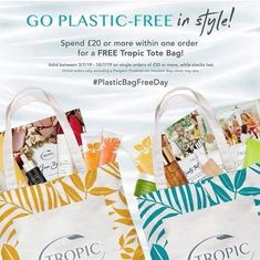 🌍 S͙T͙A͙R͙T͙S͙ T͙O͙D͙A͙Y͙ 🌍 Fight the and support and take advantage of a FREE gift 🎁 🌍  This Wednesday July marks a special day in the eco-friendly calendar: ♻️ International Plastic Free Bag Day ♻️  To Branded Tote Bags, Vegan Animals, Free Day, Cruelty Free Makeup, Special Day, Body Care, Free Gifts, Happy Shopping, Tropical