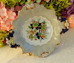 Gorgeous Antique 19c Ashworth Masons English Ironstone Serving Plate Floral Gold #GLAshworth