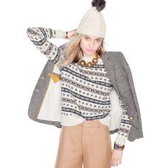 J.Crew Gift Guide: women's Fair Isle crewneck sweater.