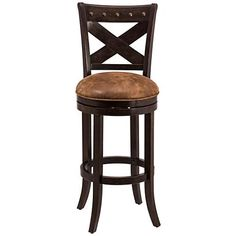 Visit with friends on this traditional swivel barstool that adds warmth to your decor with its deep bronze finish and its brown faux leather seat.