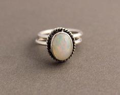 Ethiopian opal ring - Natural Opal - Artisan ring - Bezel set ring - Gemstone ring - October Birthstone - Birthday gift