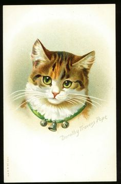 Dorothy Travers Pope and Cat Postcards