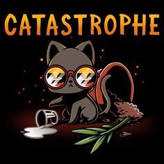So, 2017 was a Catastrophe. 2018 will be better. Get the black Catastrophe t-shirt only at TeeTurtle! Cute Animal Drawings, Kawaii Drawings, Cartoon Drawings, Anime Animals, Cute Animals, Images Kawaii, A Silent Voice, Cat Drawing, Shirt Drawing