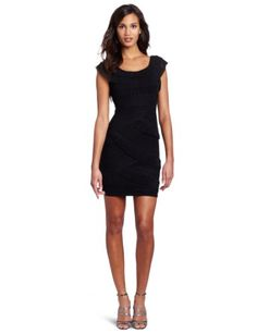 BCBGMAXAZRIA Womens Briana One Shoulder Mushroom Pleated Dress, Black, 6.  check discount today! click picture on top