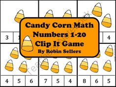 Candy Corn Counting Math Clip It Game for Numbers 1-20 from Sweet Tea Classroom…