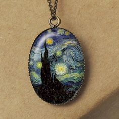 Starry Night Necklace, Vincent Van Gogh Jewelry, Starry Night Van Gogh, Moonlight Necklace, Moon Necklace, Resin Jewelry N311. $8.00, via Etsy.