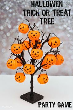 """Pumpkins filled with """"tricks"""" and treats. Such a fun idea for a Halloween party game idea or a Halloween countdown calendar for kids, includes free printable """"tricks"""" and Halloween activities"""