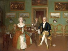 Georg Christoph Groot - Portrait of Count Ulrich Friedrich Woldemar Levendalya with his wife c. Rococo, Baroque, History Images, Art History, Catherine Of Braganza, House Drawing, Drawing Room, 18th Century Fashion, Friedrich