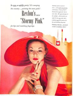 "Stormy Pink was the name for this glamorous color for Revlon's nail and lip color. ""Suddenly you're a summer siren . . at the pink of perfection"", reads the copy. This ad appeared in the July 1950 issue of the short-lived Flair magazine which catered to upper class New Yorkers."