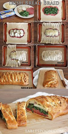 """Irish Bread Braid  2 cans Pillsbury Recipe Creations seamless dough sheet 6 oz sliced corned beef 1 c  spinach 2 lg red potatoes, boil cool slice  1 c shredded white cheddar cheese egg wash=1 egg beaten wi/1 T water)  Oven 375 F spray sheet press into 1 lrg rectangle pinching seam Place corned beef in center  8"""" Top w spinach, potatoes Sprinkle cheese cut 1""""strips on sides even to  1/2"""" filling Fold short sides, cross strips over filling Brush braid w. egg wash,  Bake 25 min cool 5 min"""