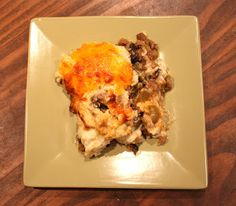 Low Carb Shepherd's Pie. Really delicious.  Did not miss the mashed potatoes one bit.