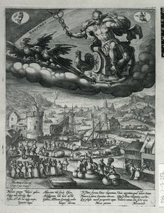 Mercury, holding caduceus, seated in chariot drawn by two birds with a cock standing on the reins; below a port; a crane lifts a barrel froma boat and various cargoes are transported; in the foreground three figures perform on a stage before an assembled crowd and at right are two stalls; on full sheet; after Maarten de Vos