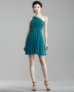Short Ruched-Top Dress by Halston Heritage at Neiman Marcus.