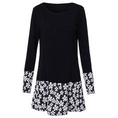 Women Plus Size Long Sleeve O Neck Floral Splice Dress ($11) ❤ liked on Polyvore featuring dresses, long sleeve dress, floral dress, knee-length dresses, print dress y plus size dresses