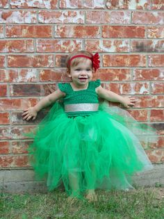 Green Christmas Dress, Crochet Top Tutu, Toddler Holiday Dress, Baby Tutu, Handmade on Etsy, Baby Gifts, Baby Christmas Dress by LittleBayBlueDesigns