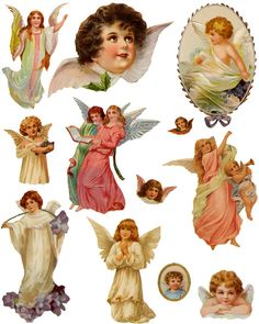 free collage sheet Use with glass tiles, tray pendants for jewelry, fridge magnets, wood shapes Victorian Angels, Victorian Christmas, Vintage Christmas, Vintage Crafts, Vintage Ephemera, Vintage Paper, Images Vintage, Vintage Pictures, Christmas Images