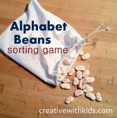 Alphabet learning on lima beans-I just saw alphabet letters in a teaching catalog for thirty dollars a bag for the upper case letters and thirty dollars for a bag of lower case letters! The catalog version were smooth small stones -so nearly identical idea! Save yourself 60 dollars :)