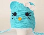Crochet  , Aqua cat Hat, Toddler hat ,children hat ,Newborn hat ,toddler crochet hat ,baby hat , with removable flowers