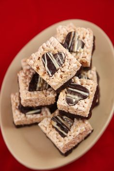 Bourbon- Caramel Rice Krispie Treats with Dark Chocolate