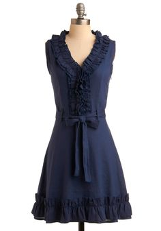Navy Notion Dress - Blue, Solid, Ruffles, Casual, A-line, Sleeveless, Spring, Summer, Mid-length
