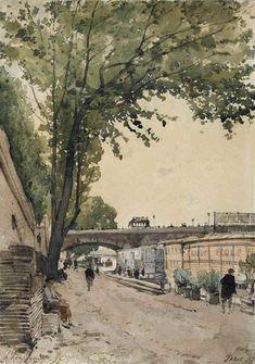 Henri-Joseph Harpignies, Promeneurs sur les quais de Seine à Paris on ArtStack #henri-joseph-harpignies #art