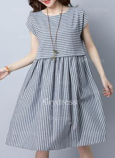 Dress - $27.06 - Stripe Tank Cap Sleeve Knee-Length A-line Dress (1955143199)