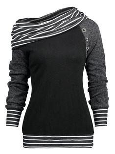 Stripe Trim Skew Neck Raglan Sleeve T-shirt - Black - 3K57514714 - Original Design-Women's Clothing  #OriginalDesignWomensClothing #Original #DesignWomen's #Clothing