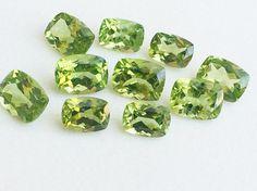 5 Pcs Peridot Emerald Cut Stone Lot Faceted by gemsforjewels