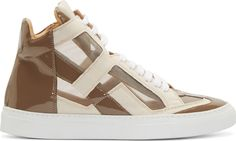 High-top mesh sneakers paneled in brown and tan. Alternating coated canvas and mock patent leather trim throughout. Round toe. White lace-up closure. Padded tongue. White rubber sole. Tonal stitching.
