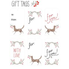 Holly Printable Gift Tags by ohmycavalier on Etsy, $3.00
