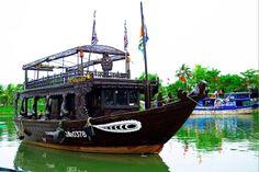 Restaurant boat on Hoai river Hoi An Quang Nam Vietnam