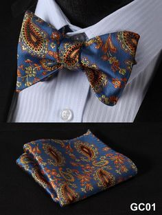 Blue Yellow Men Butterfly Self Tie Bow Tie Square Handkerchief Hanky Suit Set
