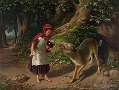 Little Red Riding Hood. I love the art and the muted colors, the realistic old world look of the original fairy-tales. There's great detail in this picture. I wish it was bigger.