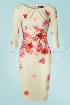 Vintage Chic for TopVintage - Marcella Floral Pencil Vintage Tops, Vintage Dresses, Floral Dresses, Classy Girl, Business Outfits, Beautiful Outfits, Gorgeous Dress, Office Fashion, Pencil Dress